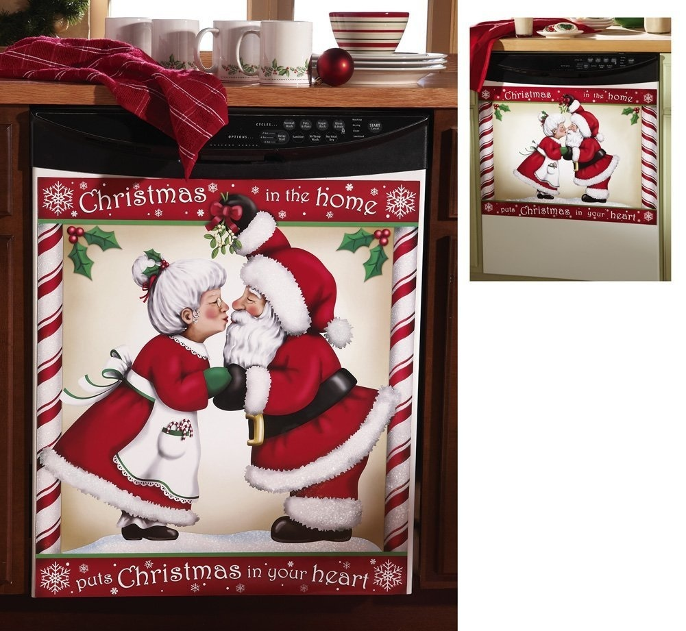 Kissing Santa Christmas Dishwasher Cover