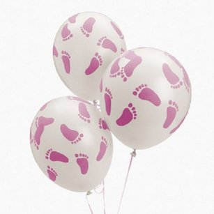 25 Baby Shower Party Pink Footprint Latex Balloons