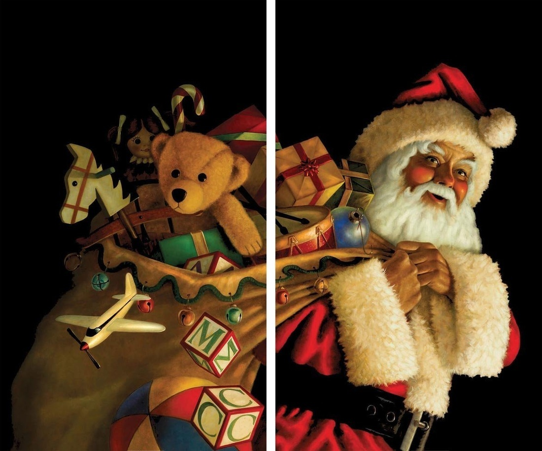 Santa Claus with Toy Sack Window Scene