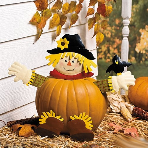 Fall Scarecrow Pumpkin Poke In Head And Legs Cute