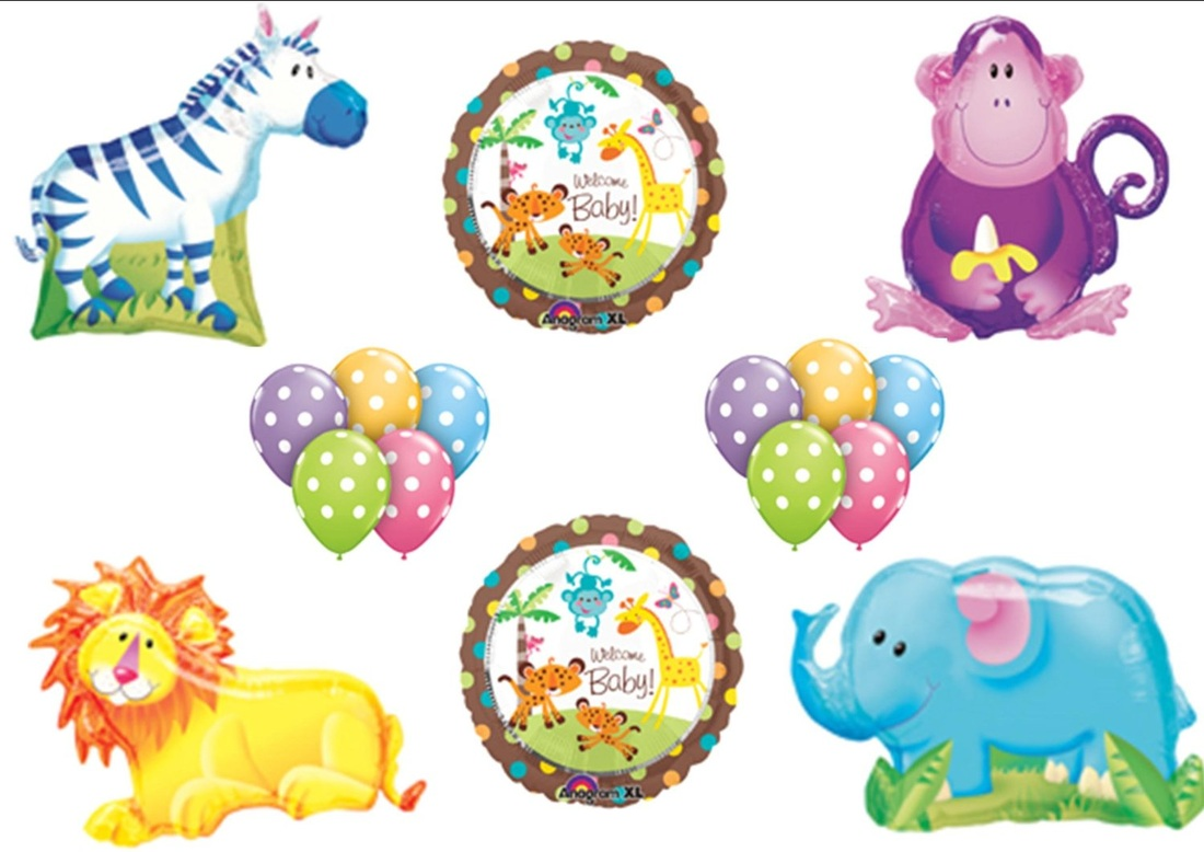 Jungle Safari Welcome Baby Shower Balloon Bouquet Set