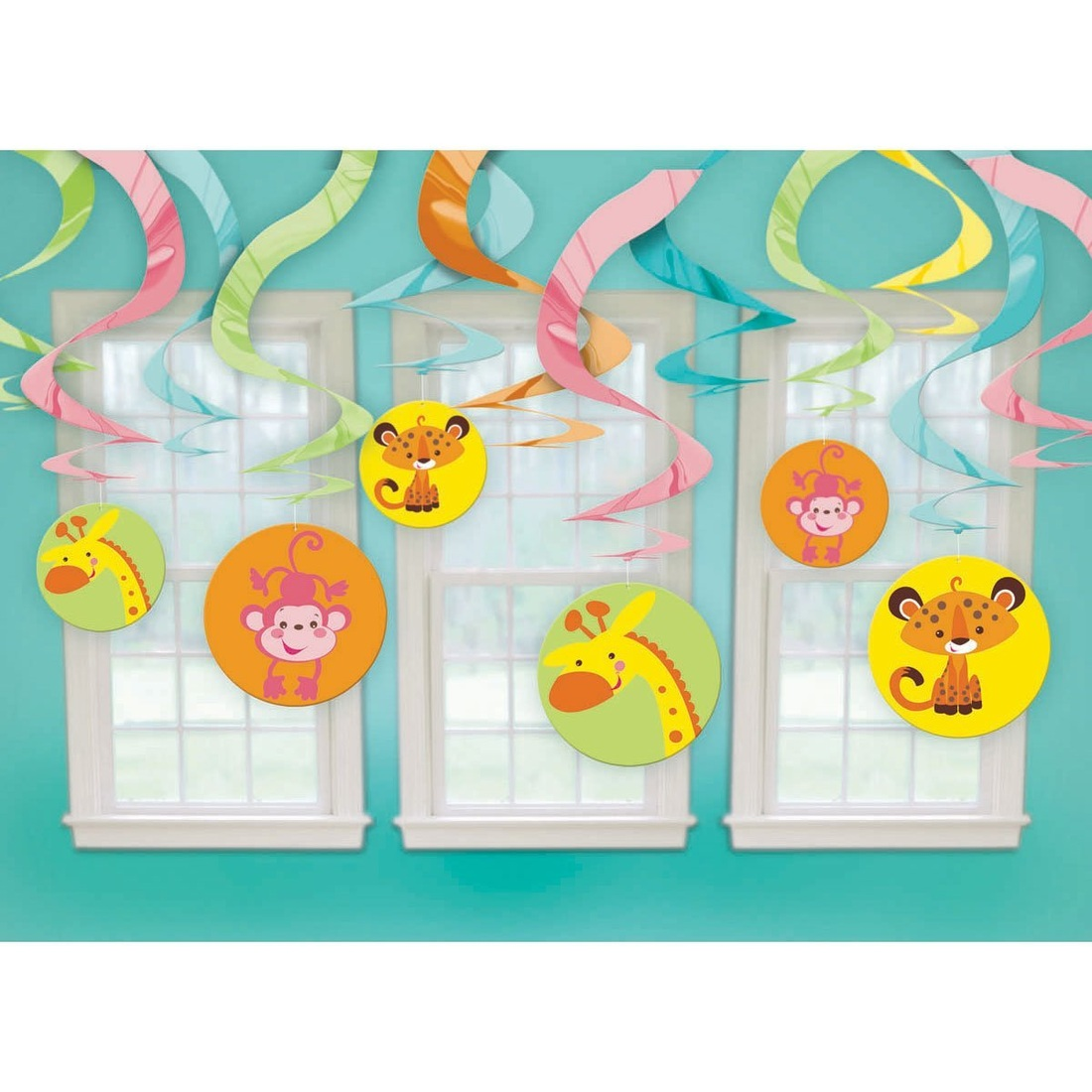 Hanging Swirl Decorations Monkey Jungle baby shower Supplies