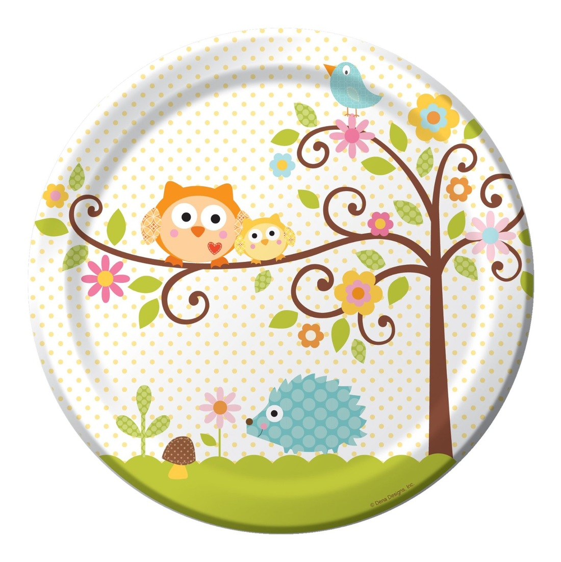 Creative Converting Happi Tree Sweet Baby Round Dinner Plates