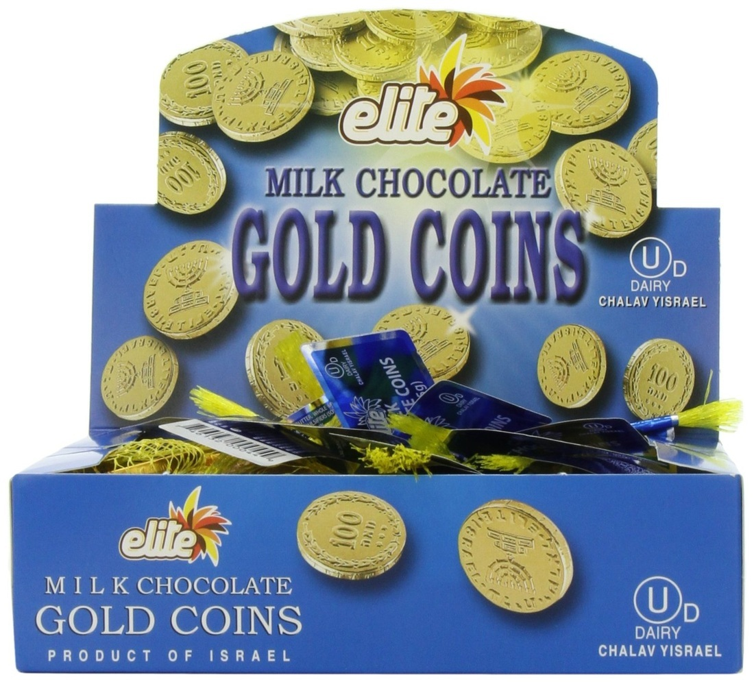 Chanuka/Hanukah Milk Chocolate Gold Gelt Coins
