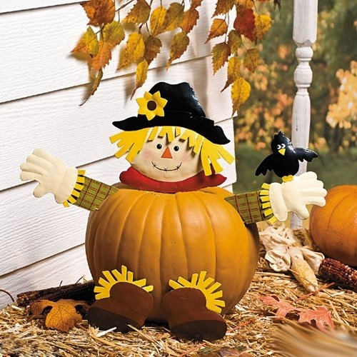 Fall Scarecrow Pumpkin Poke In Head And Legs