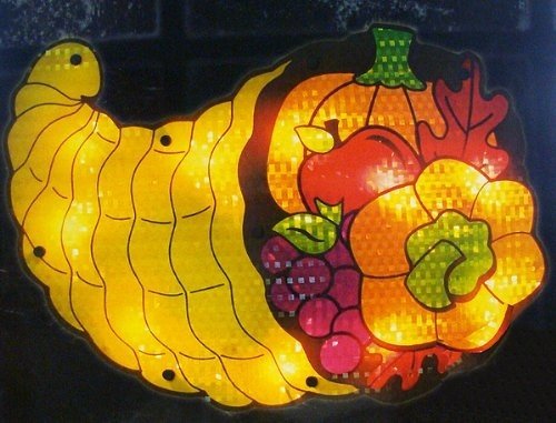 Lighted Thanksgiving Cornucopia Window Silhouette Decoration