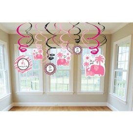 Sweet Safari Girl Baby Shower Decor Hanging Swirl Danglers Party