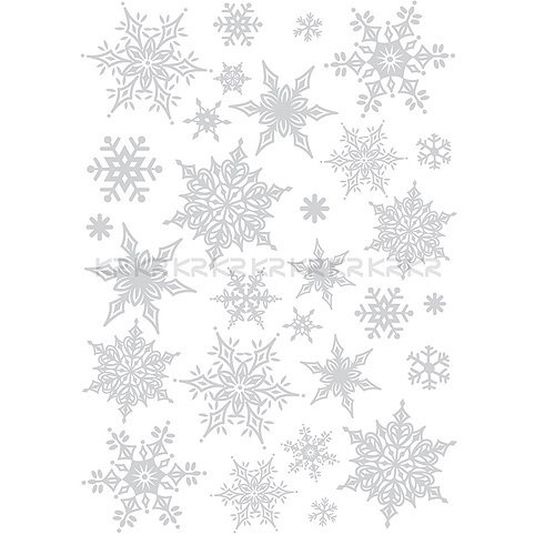 Ornate Glittery Silver Snowflakes Wall Sticker Decal