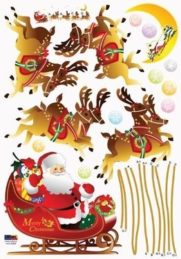 Santa And Reindeer Sleigh Wall Sticker Decal